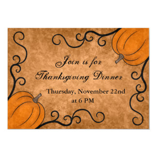 Autumn harvest pumpkin Thanksgiving dinner 5x7 Card