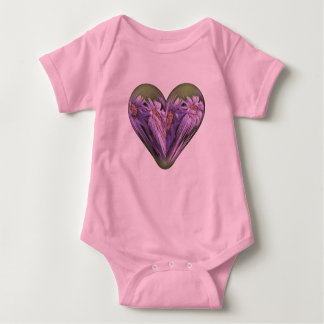 autumn heart asters with dew baby bodysuit
