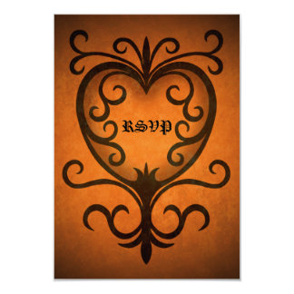 Autumn heart rsvp wedding card