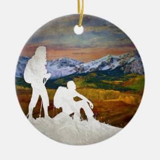 Autumn hike christmas ornament