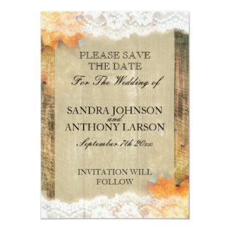 Autumn Lace Rustic Save The Date Announcement