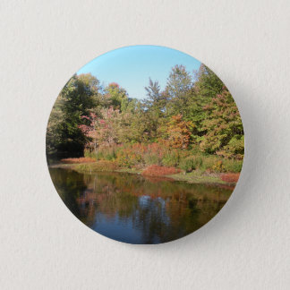 Autumn lake 6 cm round badge