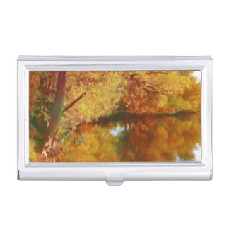 Autumn lake with trees at the river bank business card holders
