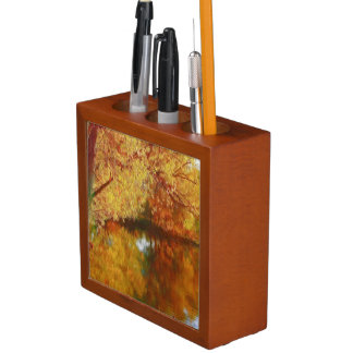Autumn lake with trees at the river bank desk organizers