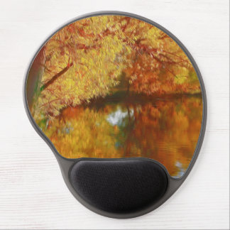 Autumn lake with trees at the river bank gel mouse pad