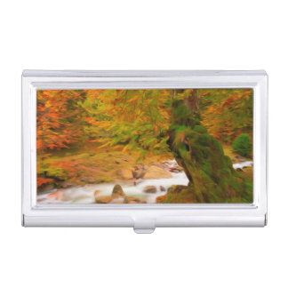 Autumn landscape of the river and the trees business card holder