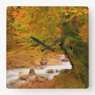 Autumn landscape of the river and the trees wallclock