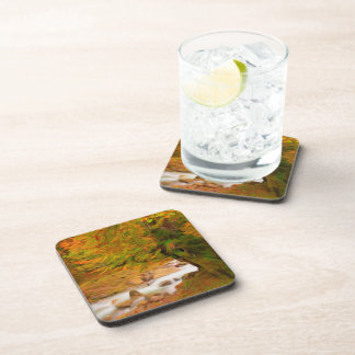 Autumn landscape of the river and the trees beverage coaster