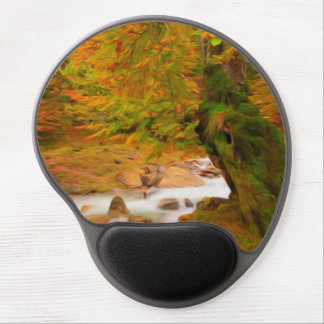 Autumn landscape of the river and the trees gel mouse pad