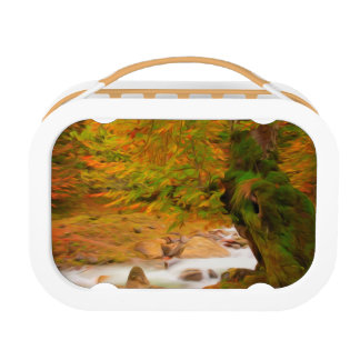 Autumn landscape of the river and the trees lunch box