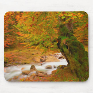 Autumn landscape of the river and the trees mouse pad