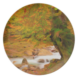 Autumn landscape of the river and the trees dinner plate
