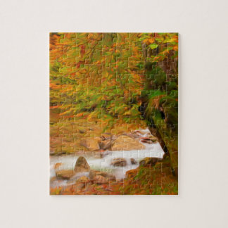 Autumn landscape of the river and the trees puzzle