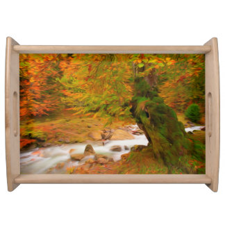 Autumn landscape of the river and the trees serving platter