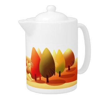 Autumn Landscape. Thanksgiving Gift Teapot