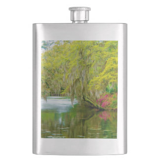 Autumn landscape with trees and river 2 hip flasks