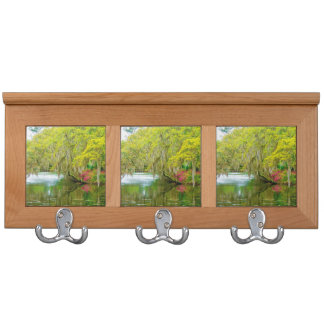 Autumn landscape with trees and river 2 coat racks