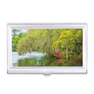Autumn landscape with trees and river 2 business card holders