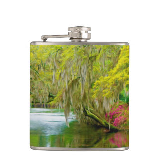 Autumn landscape with trees and river 2 hip flask