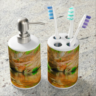 Autumn landscape with trees and river toothbrush holders