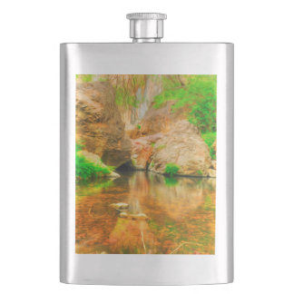 Autumn landscape with trees and river hip flasks