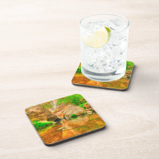 Autumn landscape with trees and river drink coasters