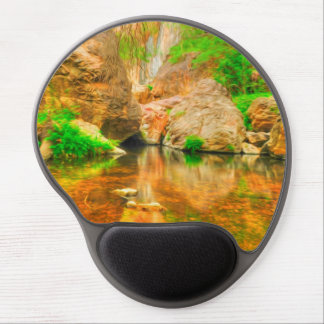 Autumn landscape with trees and river gel mouse pad