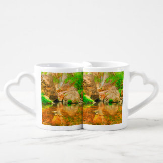 Autumn landscape with trees and river couples' coffee mug set
