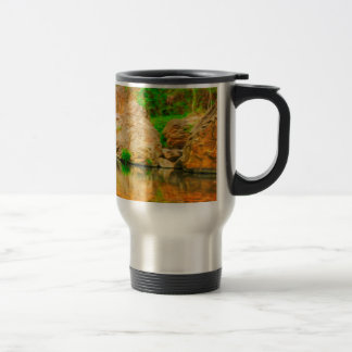 Autumn landscape with trees and river 15 oz stainless steel travel mug