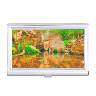 Autumn landscape with trees and river business card holders