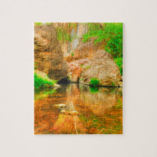 Autumn landscape with trees and river puzzle