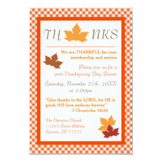 Autumn Leaf - 3x5 Thanksgiving Dinner Invitation