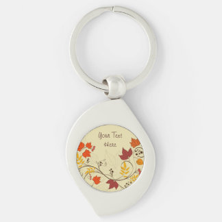 Autumn Leaf Vines with Customizable Text Key Ring