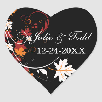 Autumn Leaves Abstract Wedding Save The Date Heart Sticker