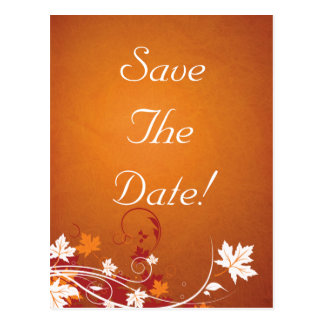 Autumn Leaves Abstract Wedding Save The Date Postcard