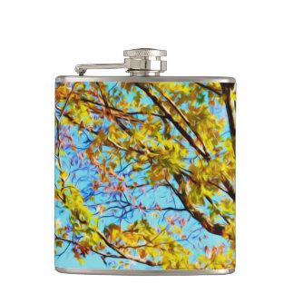 Autumn Leaves Against Blue Sky 1 Hip Flasks