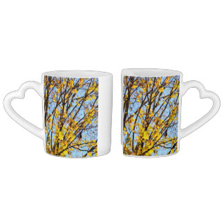 Autumn Leaves Against Blue Sky Couple Mugs