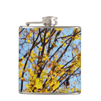 Autumn Leaves Against Blue Sky Flask