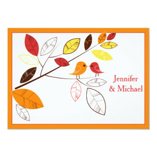 Autumn Leaves and Love Birds Wedding Invitation
