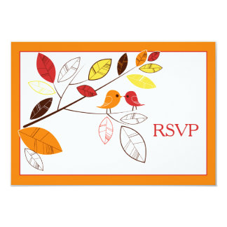 Autumn Leaves and Love Birds Wedding Reply Card 9 Cm X 13 Cm Invitation Card