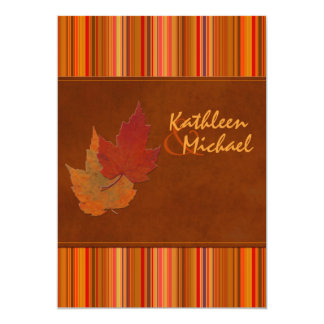 Autumn Leaves and Stripes Wedding Invitation