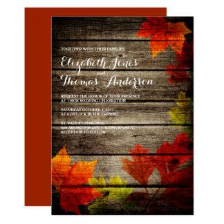 Autumn Leaves Barn Wood Rustic Fall Wedding 13 Cm X 18 Cm Invitation Card
