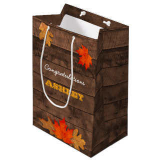 Autumn Leaves & Barnwood Personalised Gift Bag