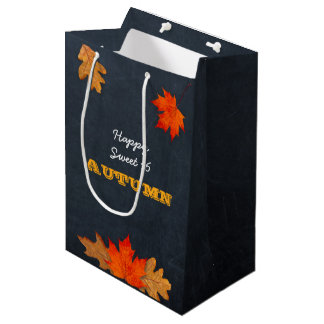 Autumn Leaves & Chalkboard Personalised Gift Bag