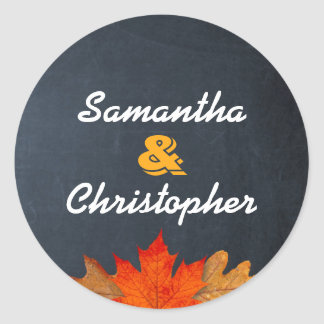 Autumn Leaves Chalkboard Personalised Stickers