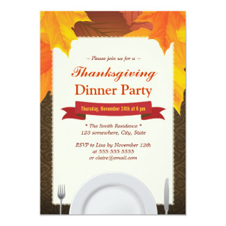 Autumn Leaves Damask Thanksgiving Invitations