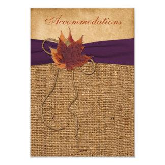 Autumn Leaves, FAUX Burlap Wedding Enclosure Card 9 Cm X 13 Cm Invitation Card