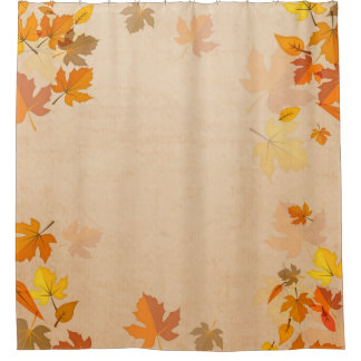 Autumn Leaves Gold Red Falling Maple Shower Curtain