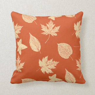 Autumn leaves - mandarin orange cushion