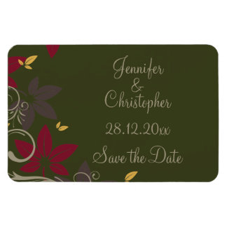 Autumn Leaves on Green Wedding Save the Date Magnet
